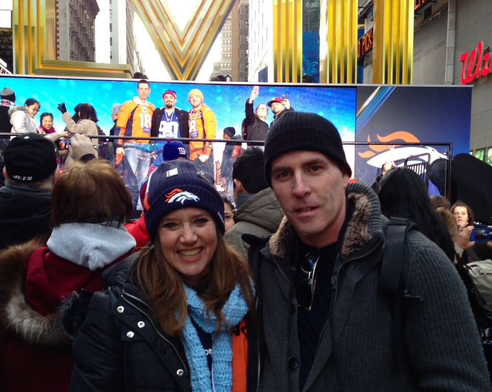 I reunited my cousin, Lynn, for the first time in many years after she travelled to New York to cheer on the Denver Broncos before they played in Super Bowl XLVIII at MetLife Stadium in February.