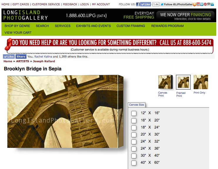 My photo Brooklyn Bridge in Sepia as featured for sale on the website of the Long Island Photo Gallery.