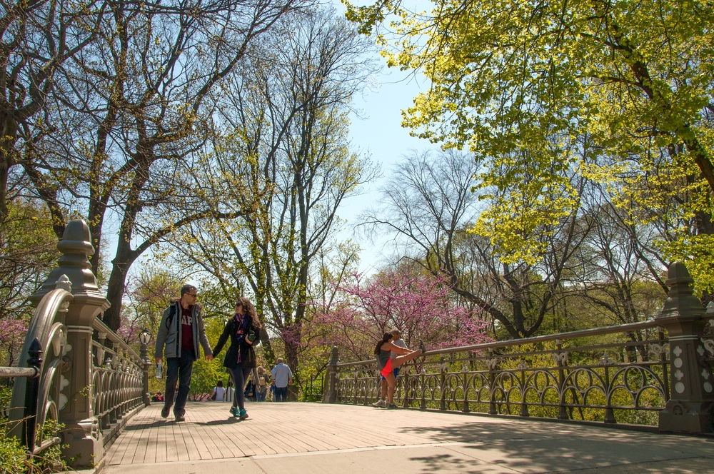 A couple walk along Bridge No. 24 in Central Park. (Photo: Joseph Kellard)