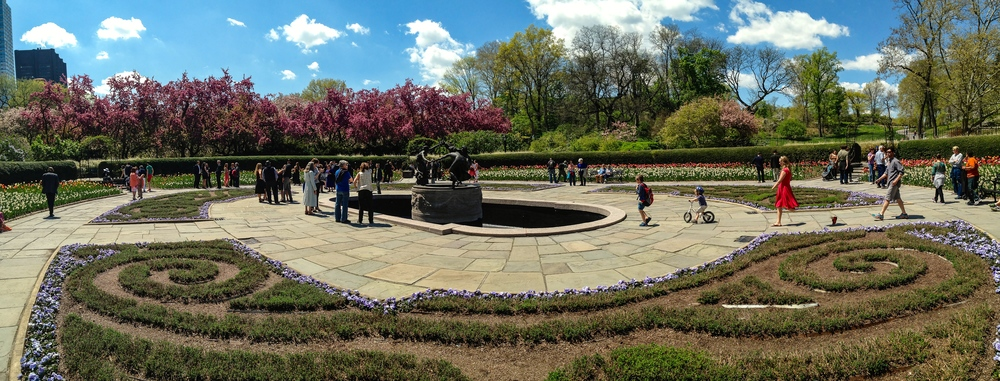 A panoramic of the French garden at Conservatory Garden at Central Park. (Photo: Joseph Kellard)