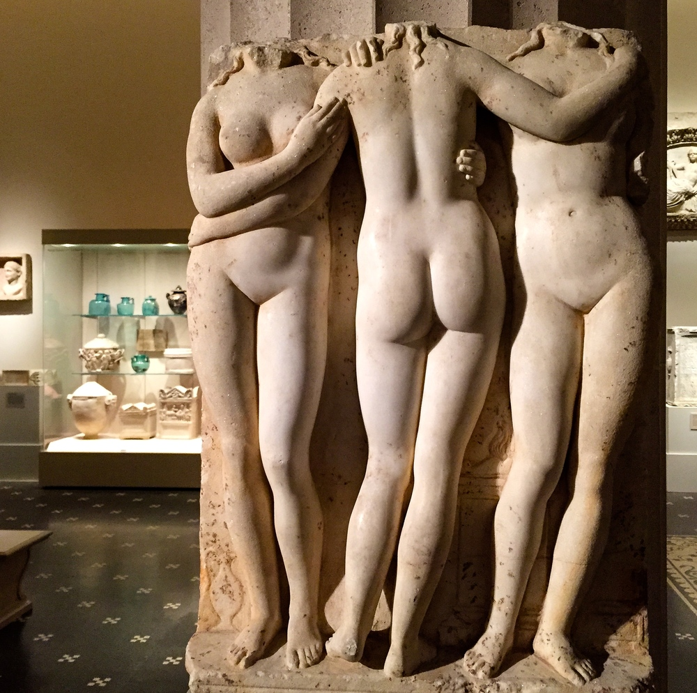 Three Graces relief (above). Bather by Houdon (bottom left) and Evening by Ruckstull?
