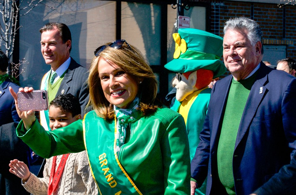 Congressman Tom Suozzi, left, News 12 anchor and Grand Marshal Carol Silva and Congressman Peter King marched down Main Street in Farmingdale during the village's annual St. Patrick's Day parade on Sunday, March 11, 2018. (Photo: Joseph Kellard)