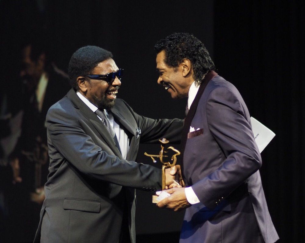 William Bell presents Bobby Rush with the Blues Award for Historical Album.