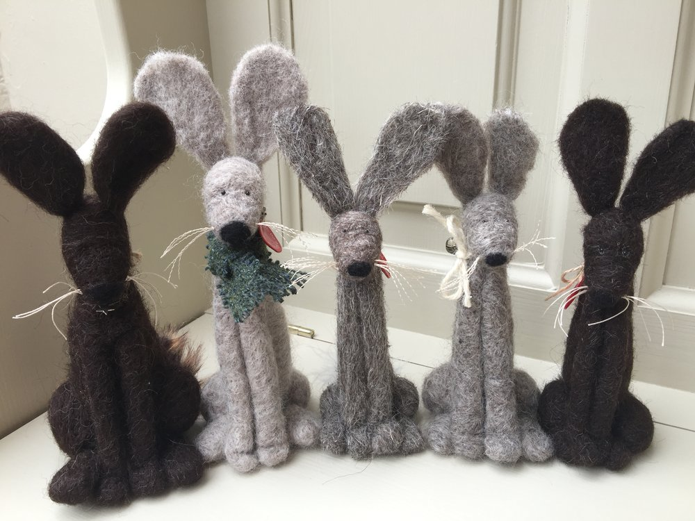 Needle felted bears & rabbits : a selection of colours & sizes available.