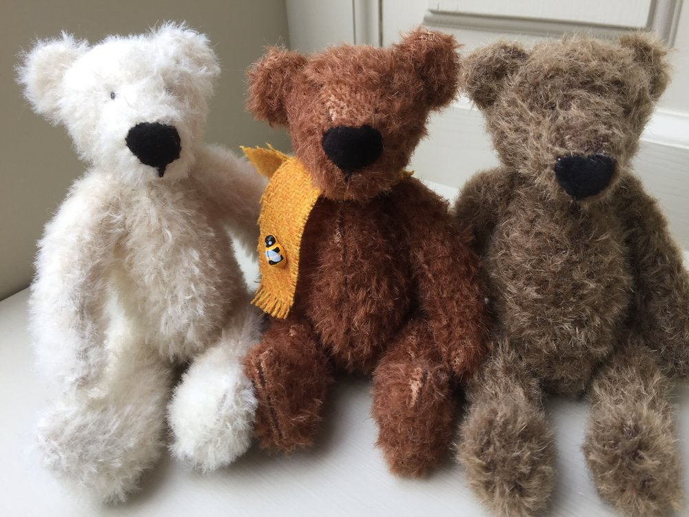 My miniature mohair, tweed & British wool bears, rabbits & mice are individually hand made using SuzieBee's own designs. Fully jointed & weighted.  Each bear is also individually named by SuzieBee