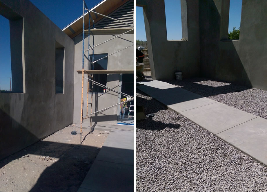 Leveling and gravel preparation of entry courtyards
