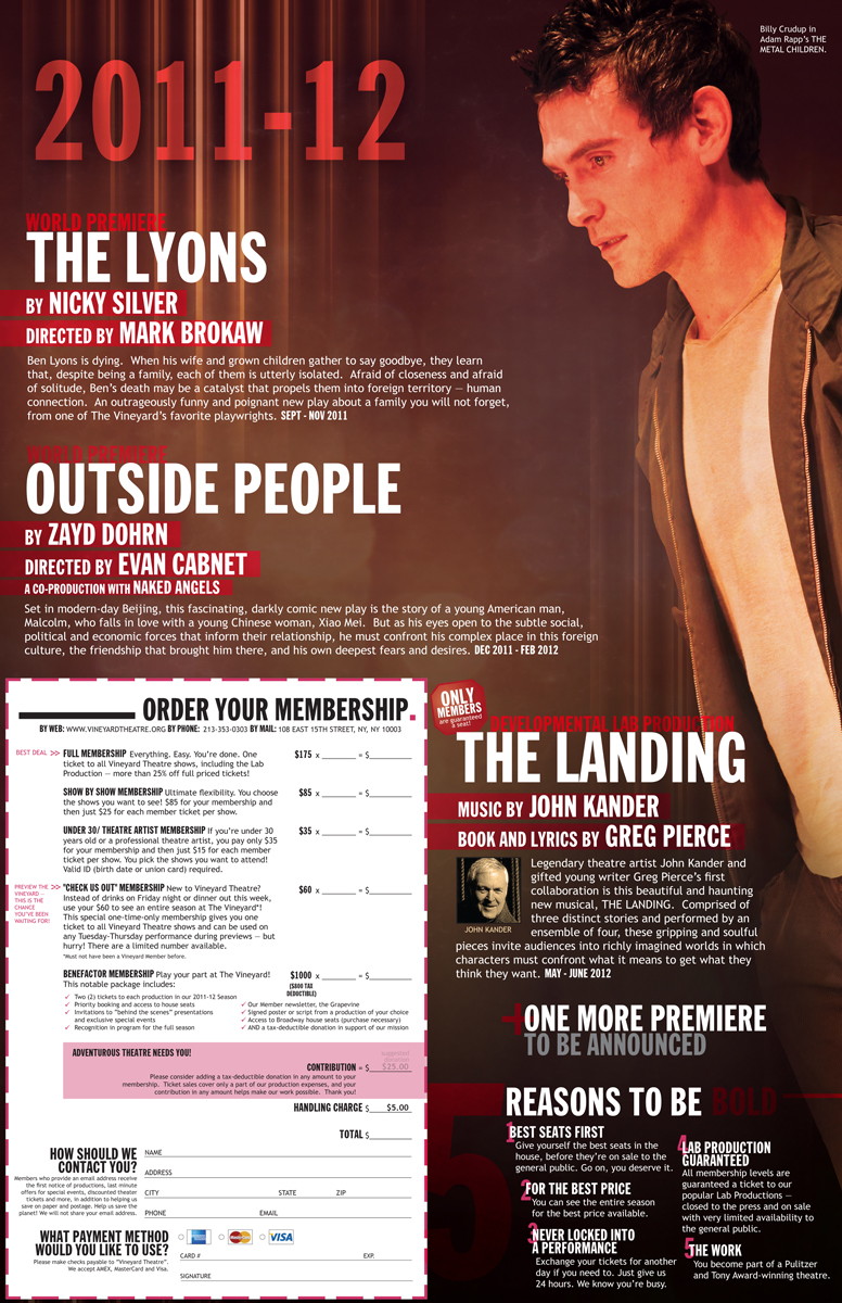 2011-12 Vineyard Theatre season brochure foldout