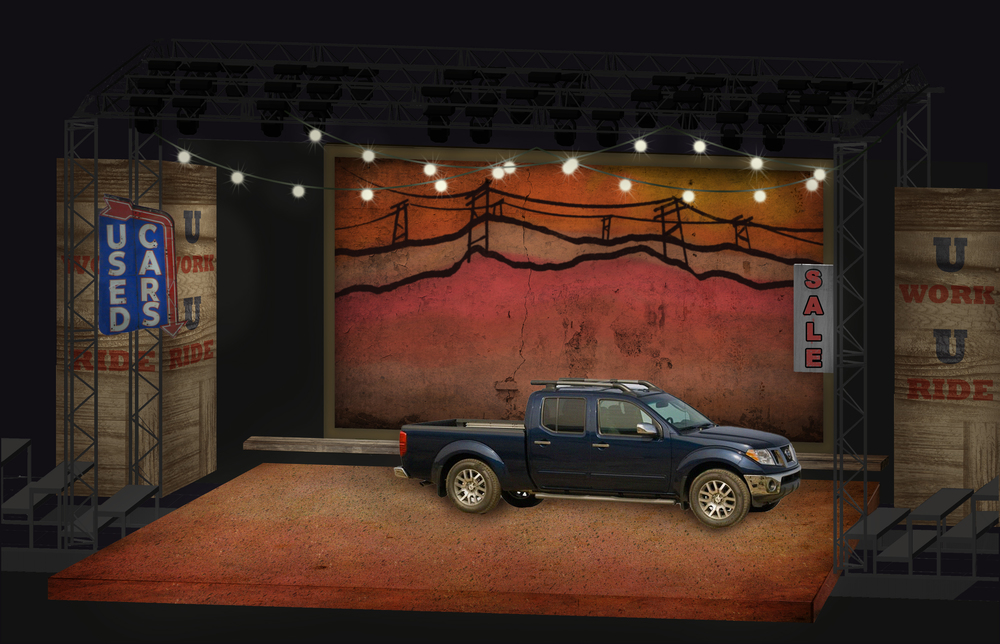 Scenic Rendering:  Hands on a Hard Body-  Park Playhouse in Albany  Directed by Michael Lo Porto; Scenic Design- Jeffrey Perri; Lighting Design- Ashley Vellano