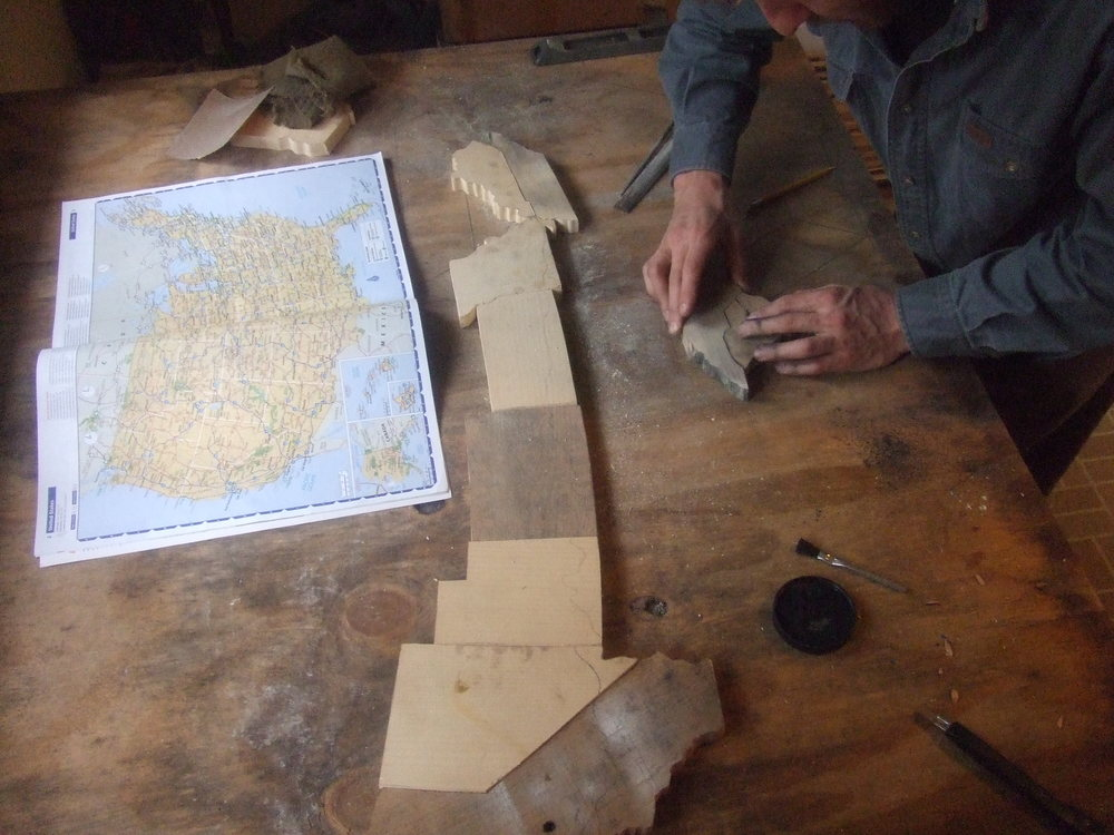 A wooden version of our cross country route