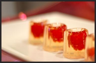 Gelebrations : Champagne and elderflower cordial with fresh raspberries. Effervescent and classy with just a hint of sweetness. Perfect for cocktail hour or an alternative to the champagne toast.  1.5 oz  $3.25/piece   2.0 oz  $3.50/piece