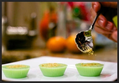 Key Lime Pielets :  Key lime juice and lime gelatin flavored with sweetened condensed milk, dark rum and KeKe key lime liqueur. Dusted with graham cracker crumbs.  Sweet and decadent.  $3.00/piece.