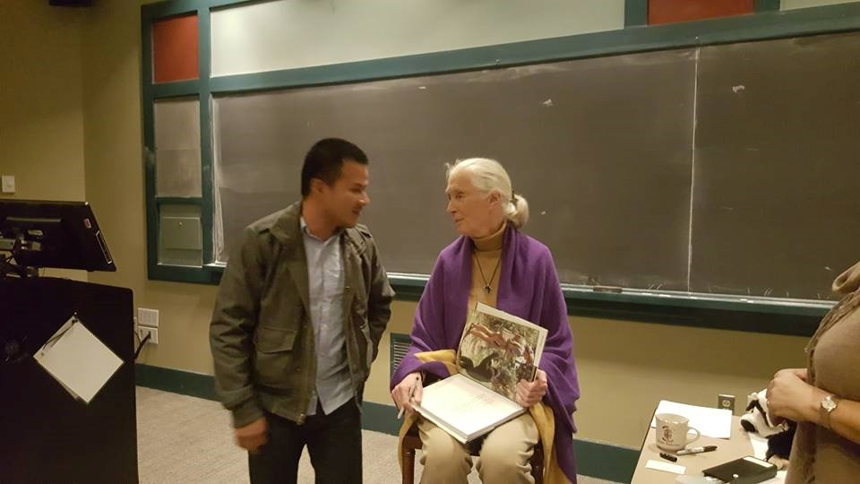 Hugo Lucitante with Dr. Jane Goodall at Brown University