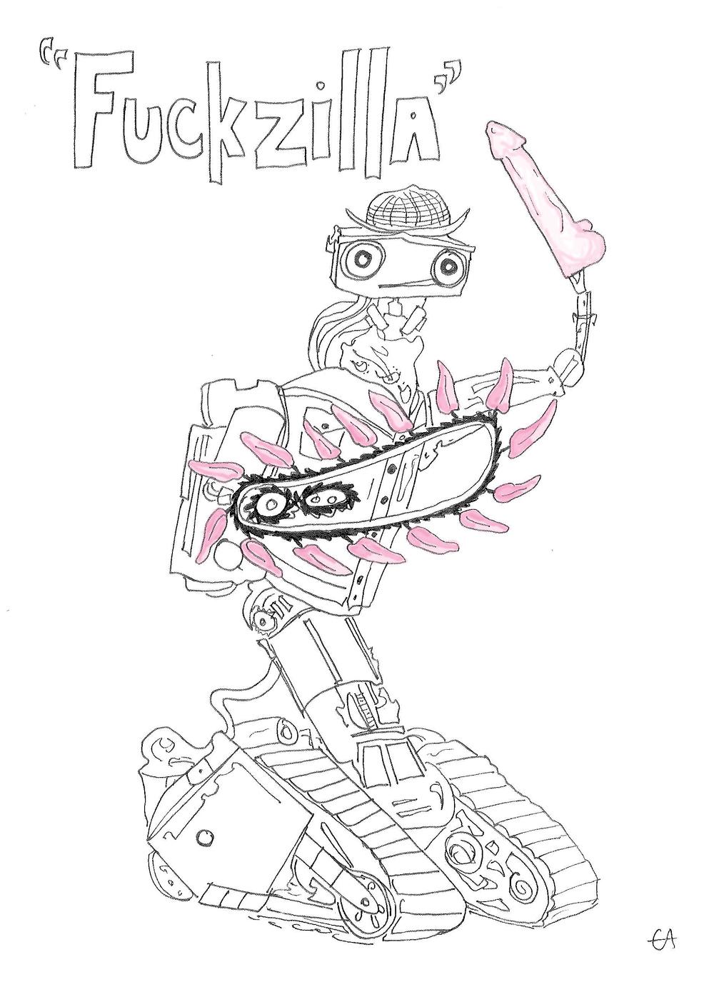 """Fuckzilla"" drawing based on kink.com robot."