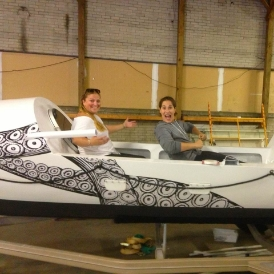 Meg and Vicki enjoying their freshly painted ride!