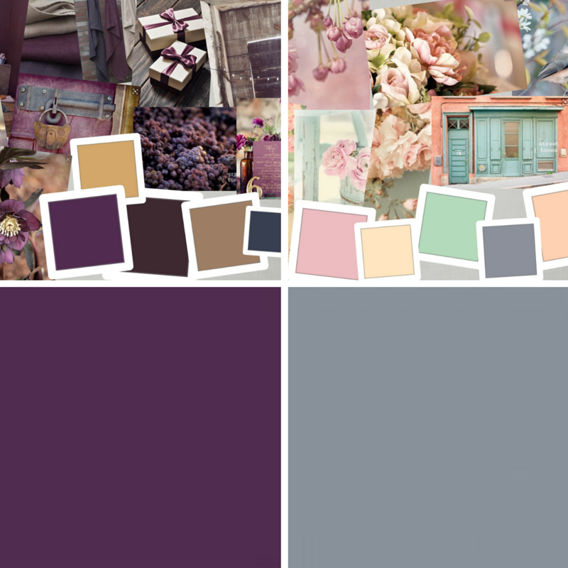 "Clockwise from top left: ""Bronte,"" ""Austen,"" ""Austen Gray,"" ""Bronte Purple"""