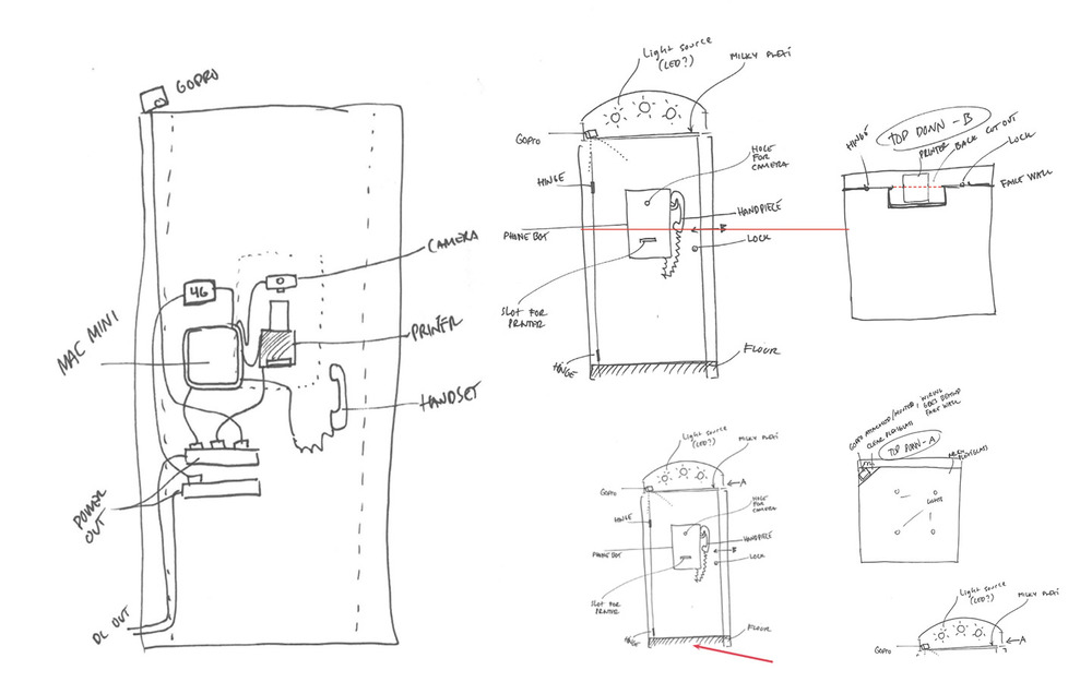 Some of the early planning phase schematics, mapping out the needed parts and functionalities.