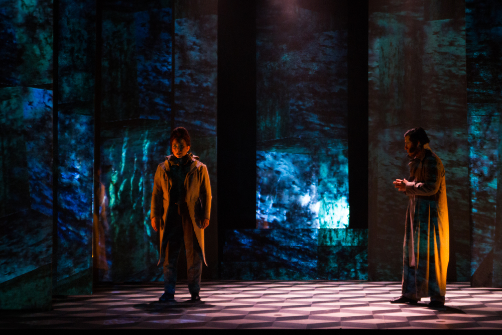 Scenic design by Brunella Provvidente; Costume design by Anastasia Schneider; Lighting design by Adam Vachon; Media design by Matthew Ragan.  Photo credit: Matthew Ragan.