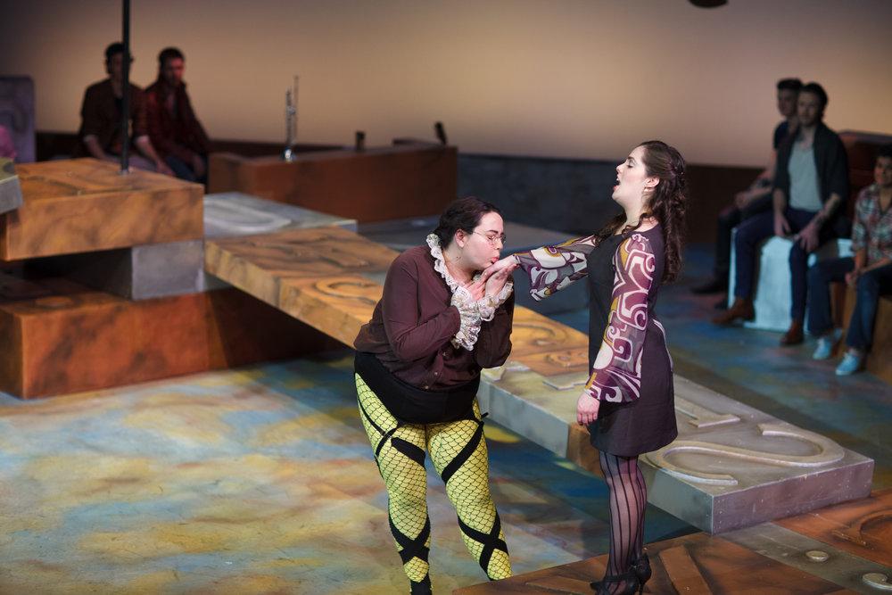 Nicole Greene as Malvolio and Katie Wight as Olivia in  Twelfth Night,  Wood-Mar Auditorium, 2014