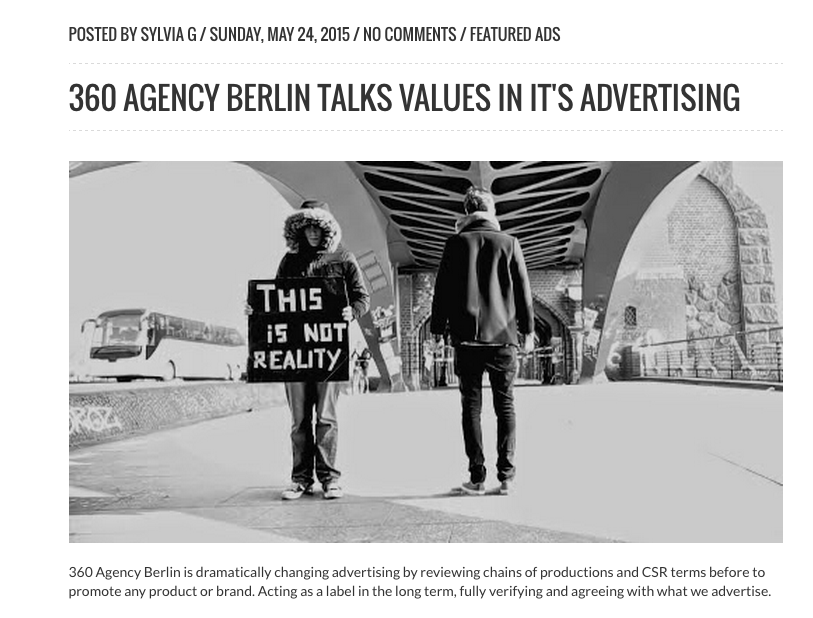 Article when 360 Agency Berlin talks values in it's advertising