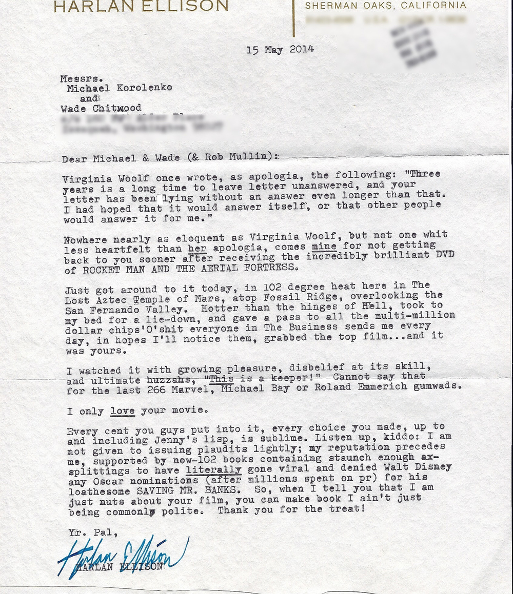 Harlan Ellison's letter of praise to the directors of Rocket Man and the Aerial Fortress