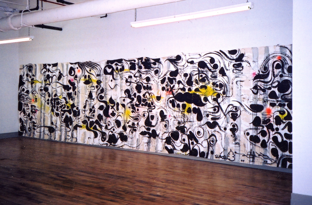 Installation view,  Between the Lines (Colonics), 2002  Boomerang   Agnés b. Gallery  New York, 2002  with artists  Lee Quiñones   and  José Parlá