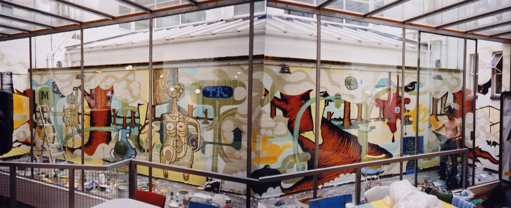 installation view,  mural commission for  Mother Agency  London, UK, 2002  with artists  Doze Green  and David Ellis