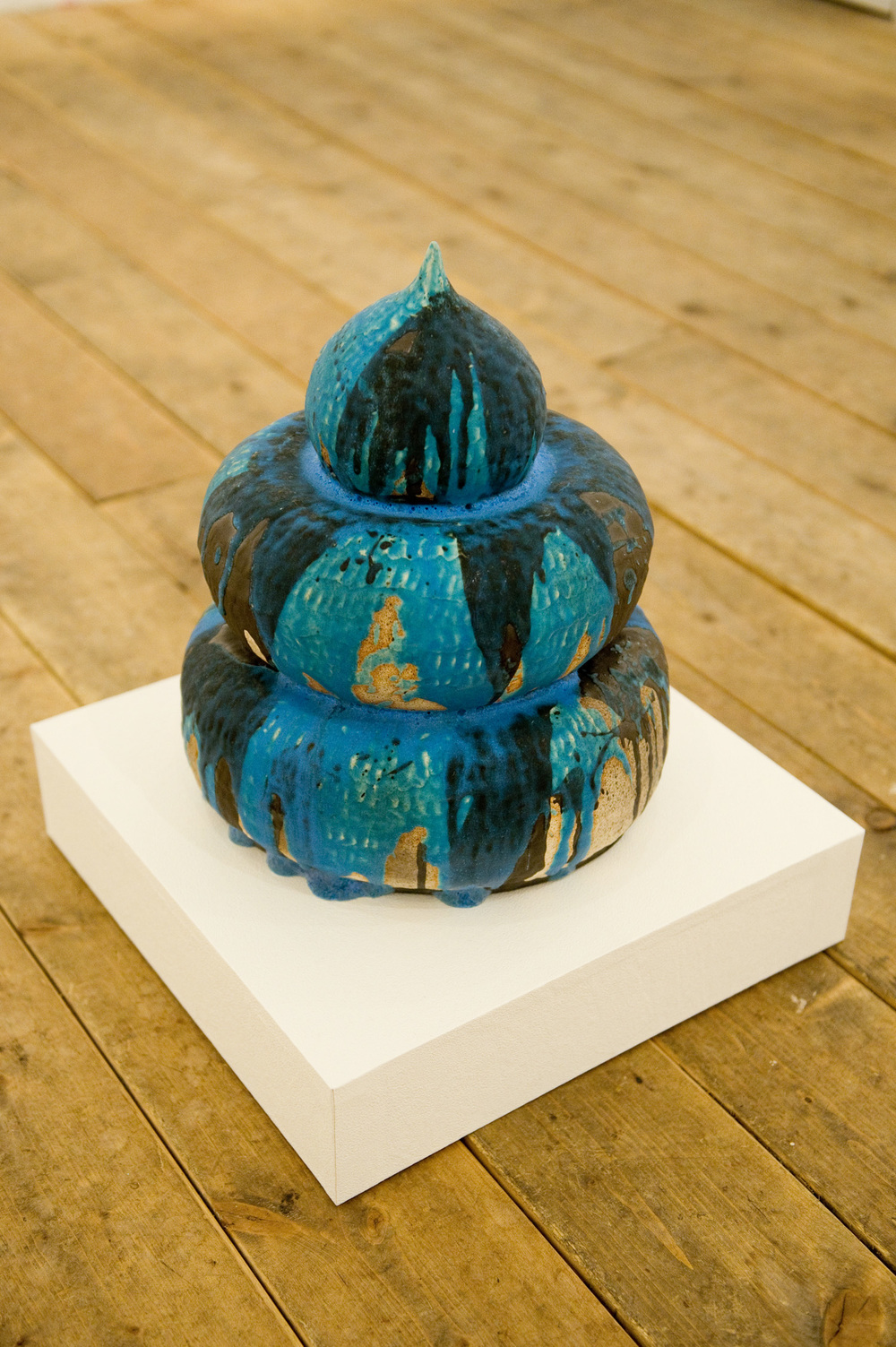 Yakimono Seed I (Blue), 2012 glazed clay ceramic  edition of 4 14 inch (35 cm) long
