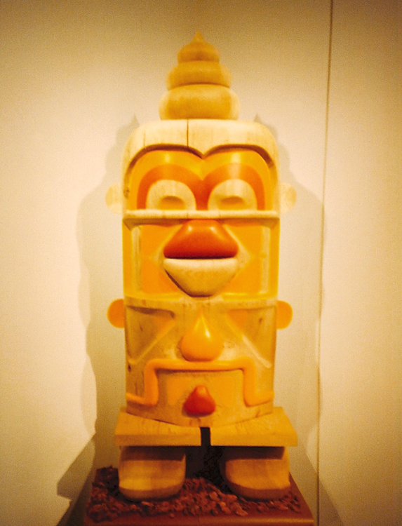 Creation (totem), 1999 acrylic on handcarved wood dimensions vary collaboration with Alex Calderwood / Neverstop