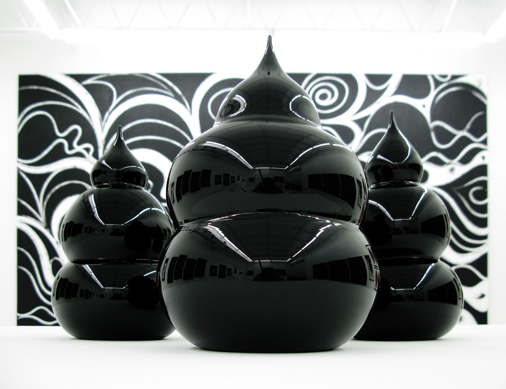 The Seed III-V (Black Love series), 2007 hand blown glass edition of 5  dimension vary