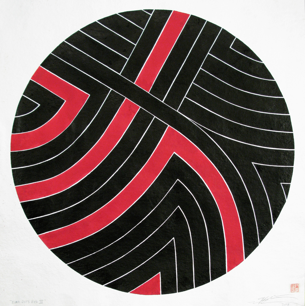 Black Dots Red III, 2008 sumi ink on handmade paper 40 x 40 inch