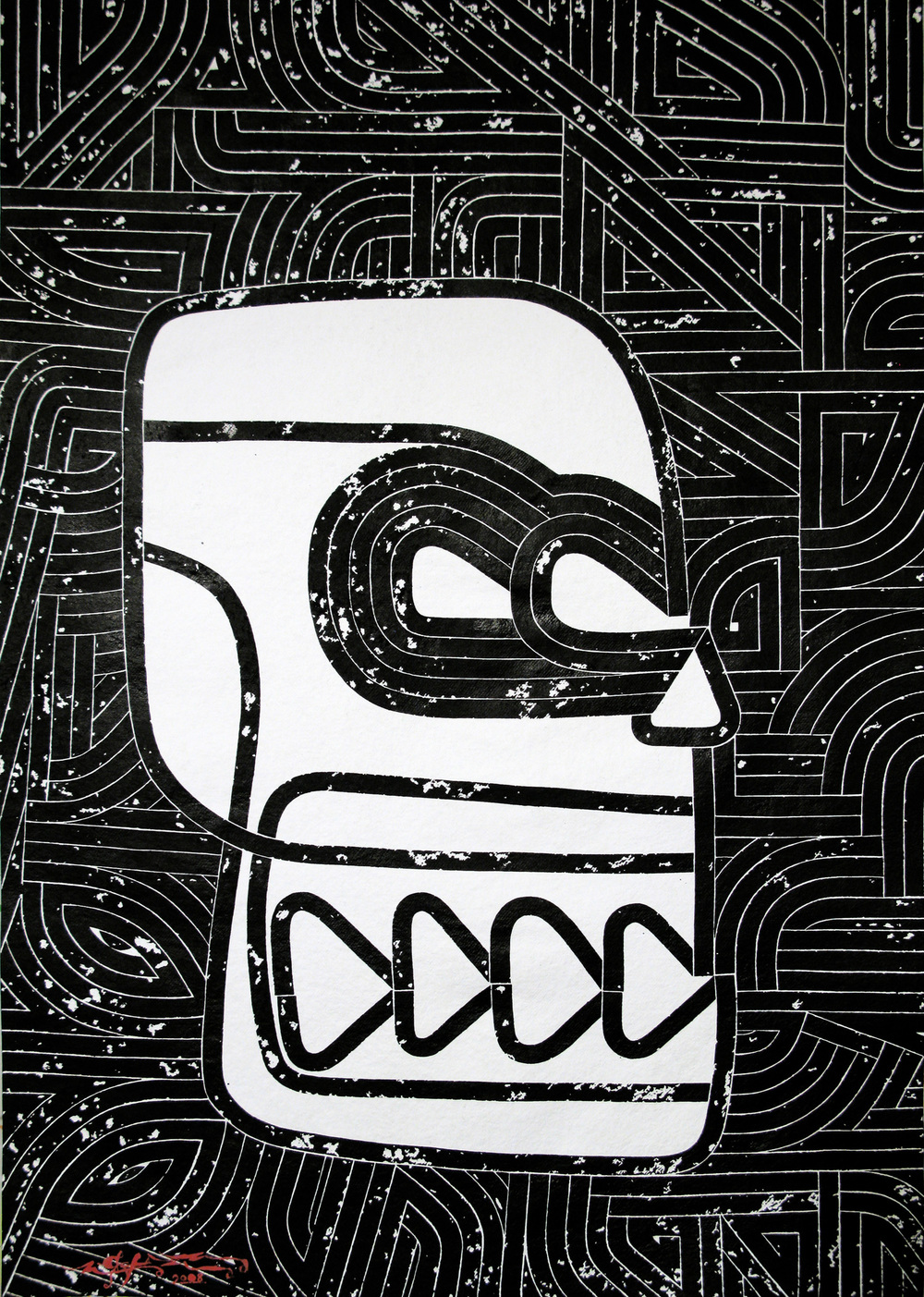 Phrenology Maximus, 2008 sumi ink on handmade paper 52 x 36 inch