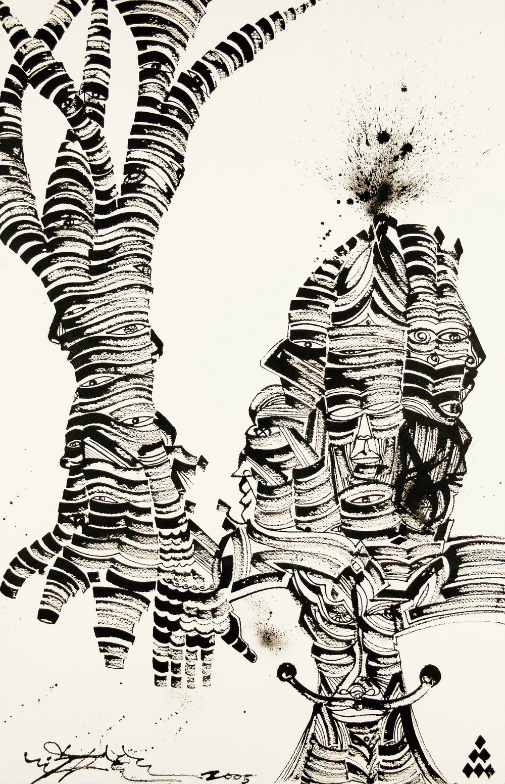 Trees Of Life, 2005 sumi ink on handmade paper 42 x 26