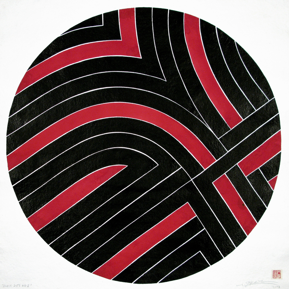 Black Dots Red II, 2008 sumi ink on handmade paper 40 x 40 inch