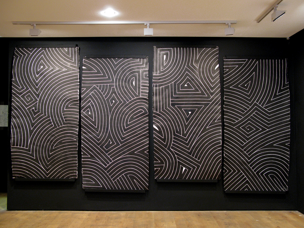 Black Flag I, 2007 sumi ink on handmade paper four panels, each 7 x 3.5 feet overall 7 x 14 feet