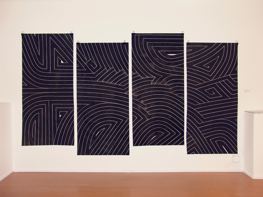 Black Flag III, 2008 sumi ink on handmade paper four panels, each 6 x 2.5 feet overall 6 x 10 feet