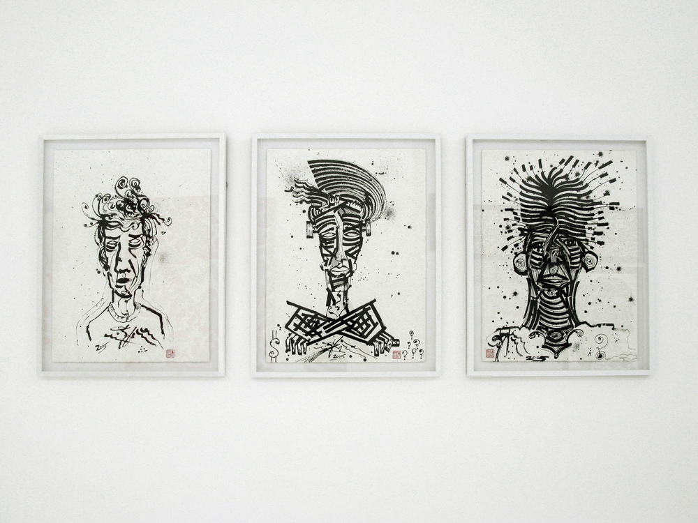 installation view, 3 Shades of Madness (series), 2005