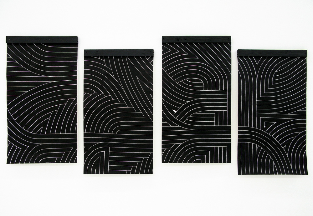 Black Flag II, 2007 sumi ink on handmade paper four panels, each 60 x 36 inch overall 60 x 144 inch