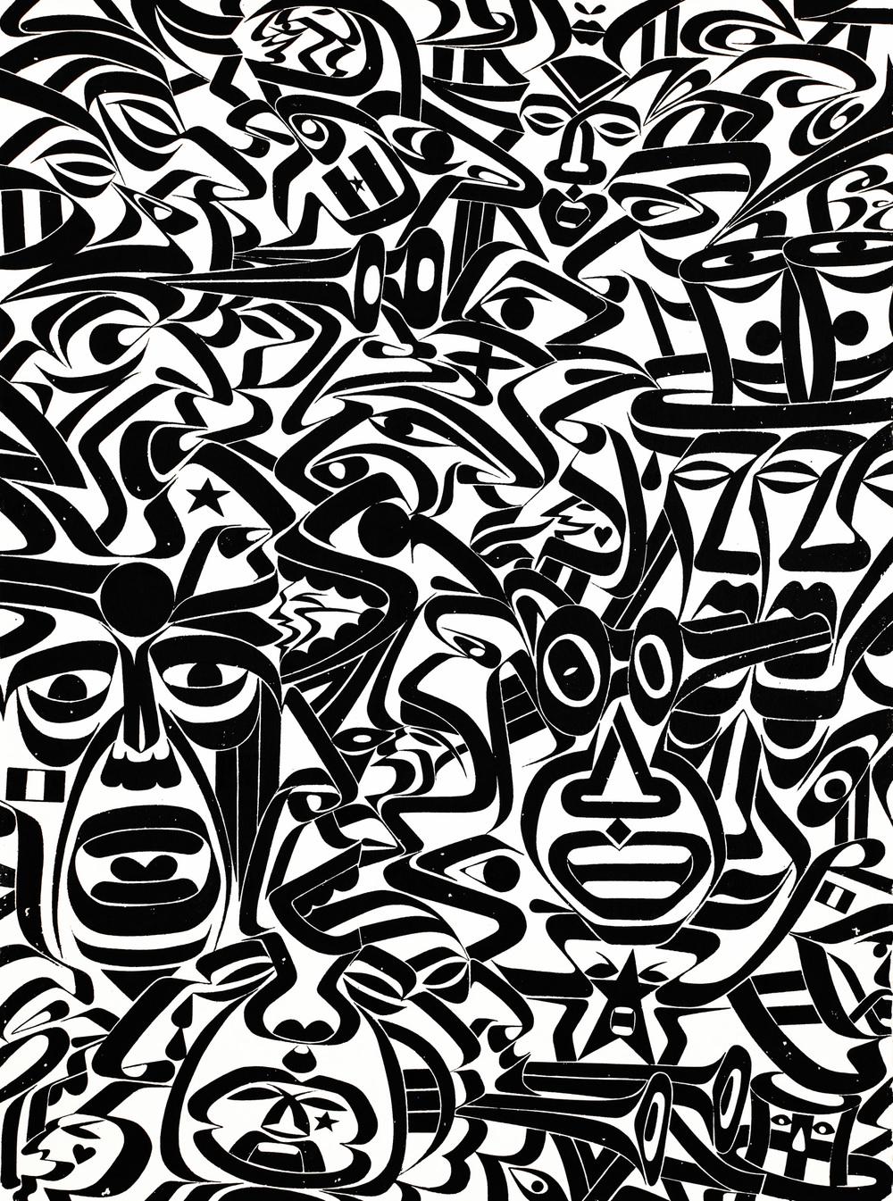 Ikonoclysm Fanatix, 2012 sumi ink on handmade paper 30 x 22 inch