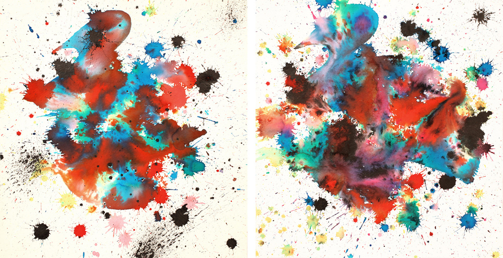 Gold Rush I & II, 2012 ink on handmade paper each 12 x 12 inch