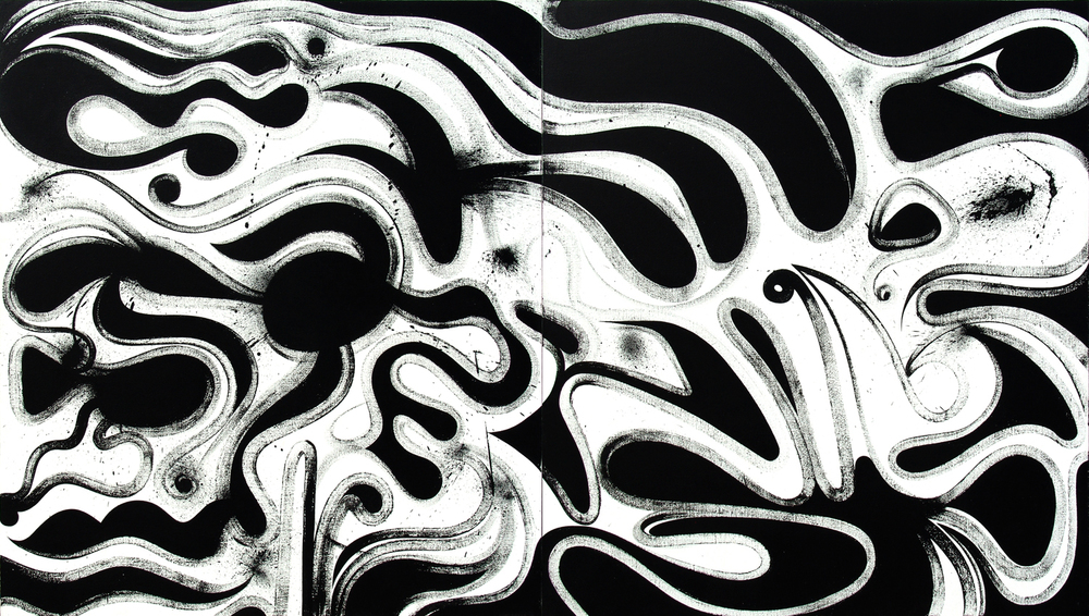 Galactic Cannibalism, 2006 acrylic & sumi ink on linen two panels, each 52 x 48 inch  overall 52 x 96 inch