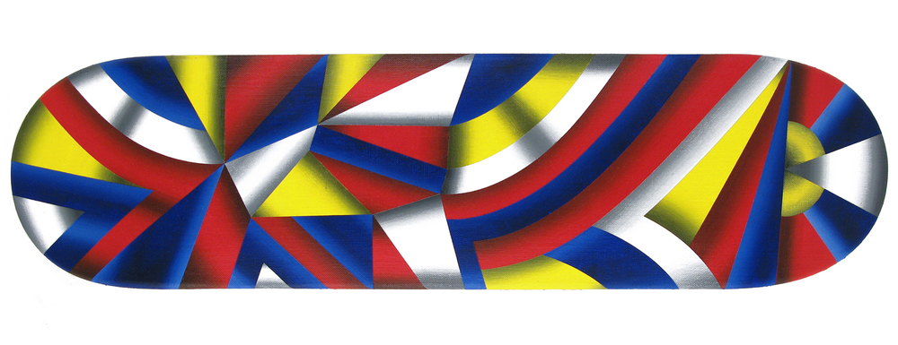 'Vehiculus Libertas (Freedom Vehicle)', 2010 acrylic on linen on wood skateboard 7.25 x 29 inch