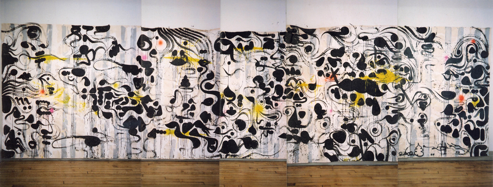 Between The Lines (Colonics), 2002 acrylic, ink and spray paint on canvas 8 x 30 feet