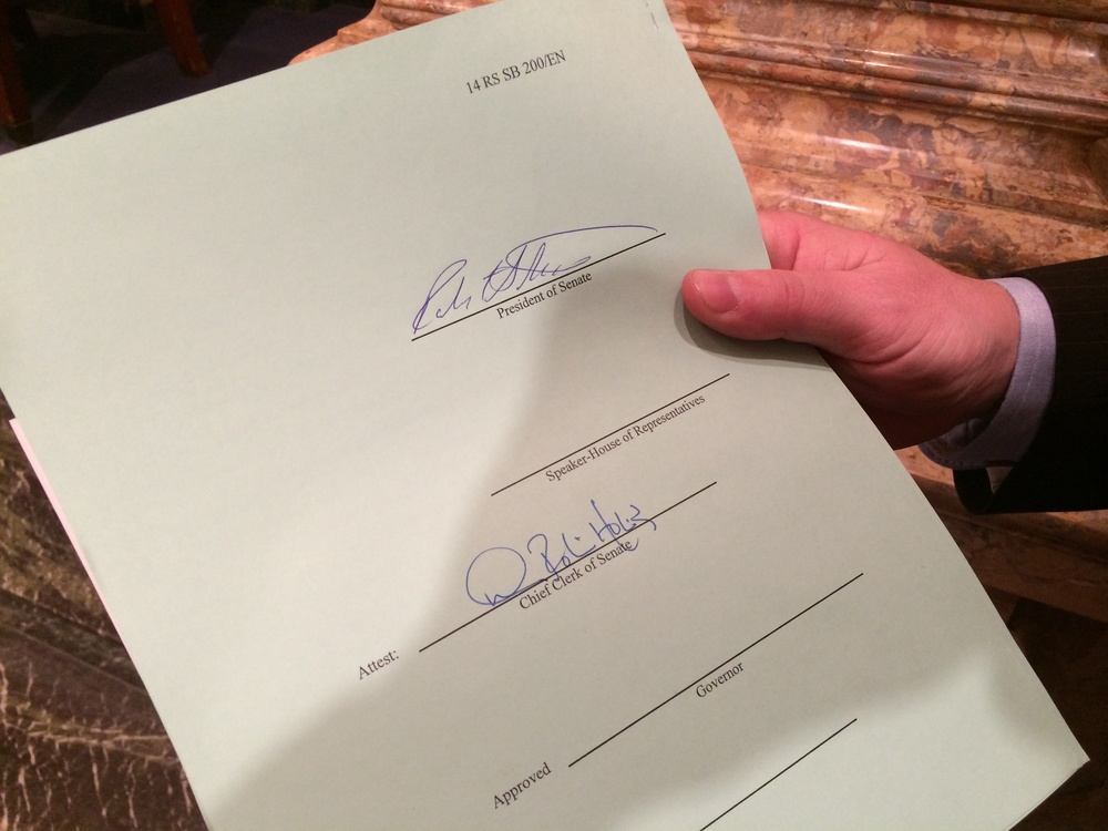 The official jacket of SB200 moments after enrollment in the Senate, bearing the signature of Senate President Stivers before heading to the Speaker, then the Governor.