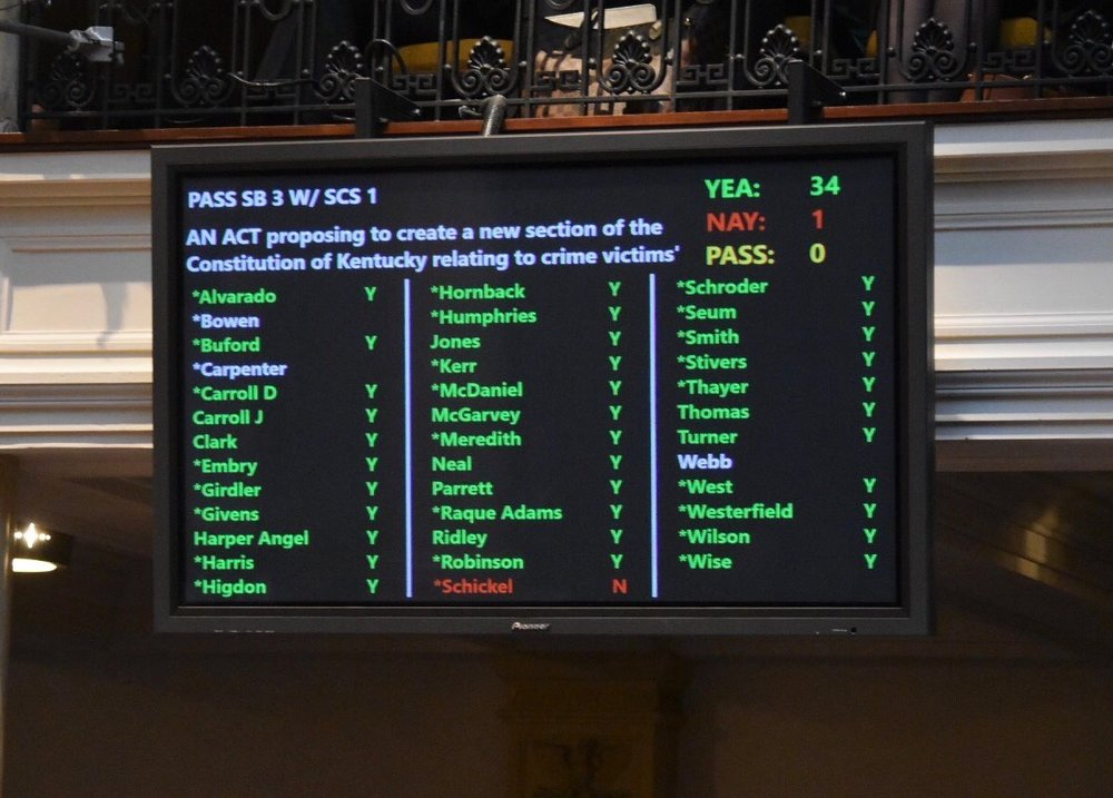 (NOTE: Sen. Bowen cast his vote the following day after missing due to sickness, putting the final vote tally at 35-1.)