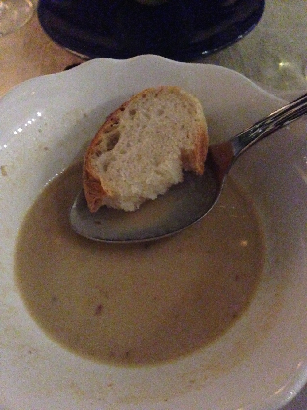 First course: Creamed soup of parmesan with wild mushrooms and foie gras and homemade bread