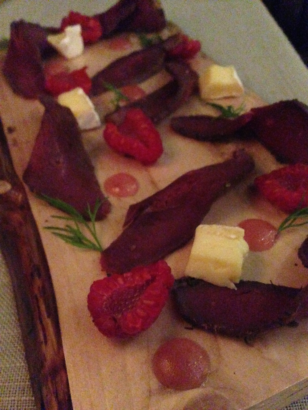 Fourth Course: Hot smoked goose with brie and fresh raspberries
