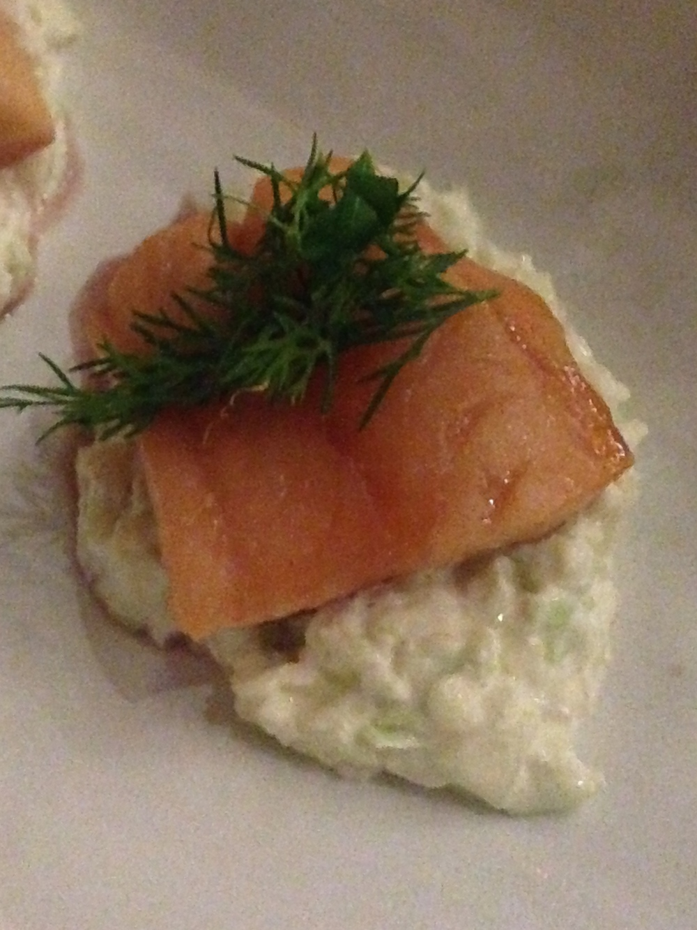 Fifth Course: Port glazed hot smoked salmon with fennel sesame seed salad
