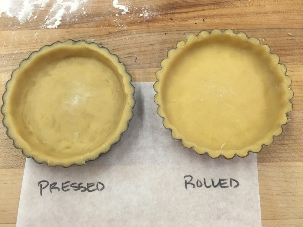 Trying out two methods of forming tart shells: pressed and rolled