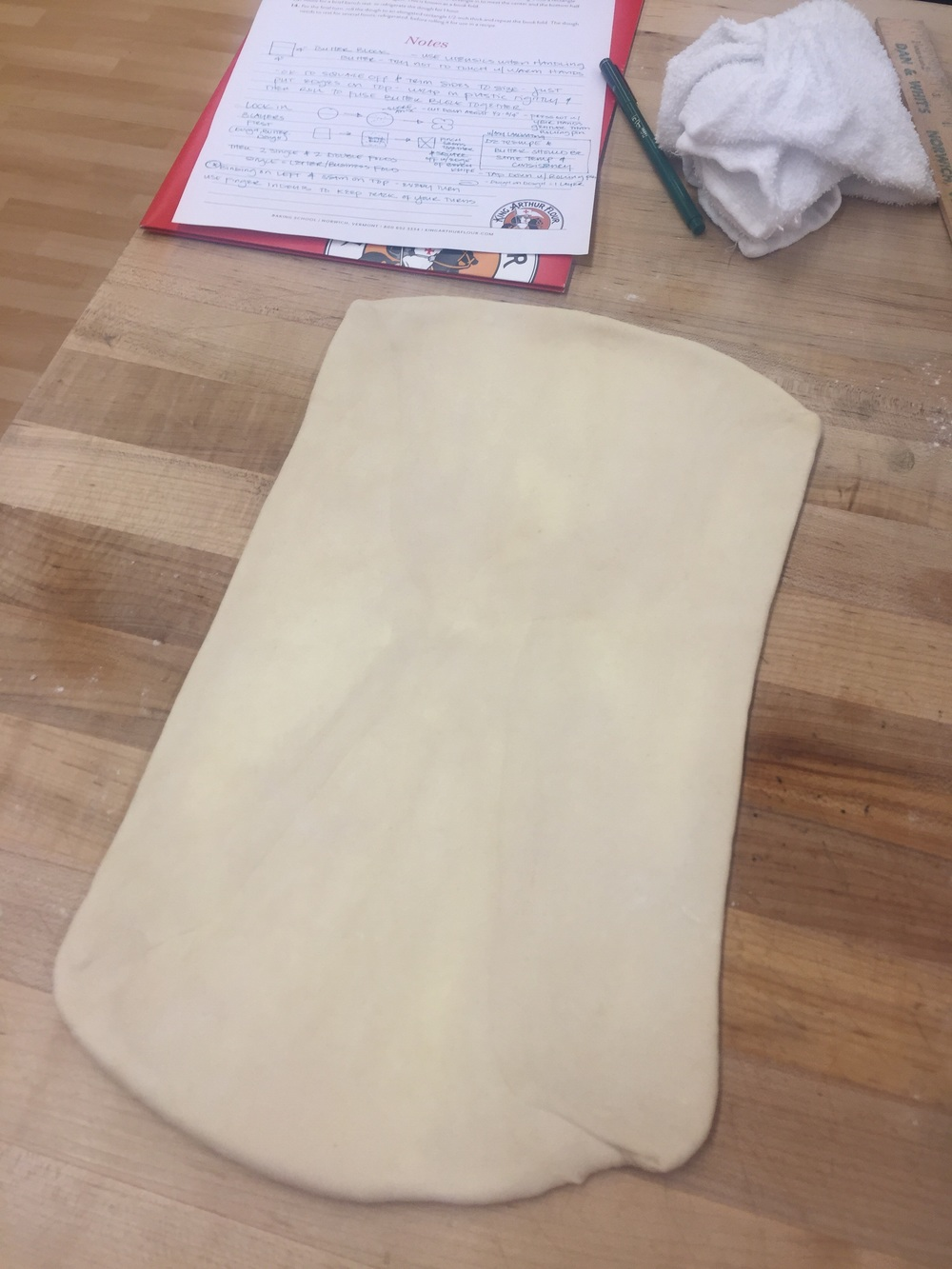 First rolling out of the dough to 8 x16 inches