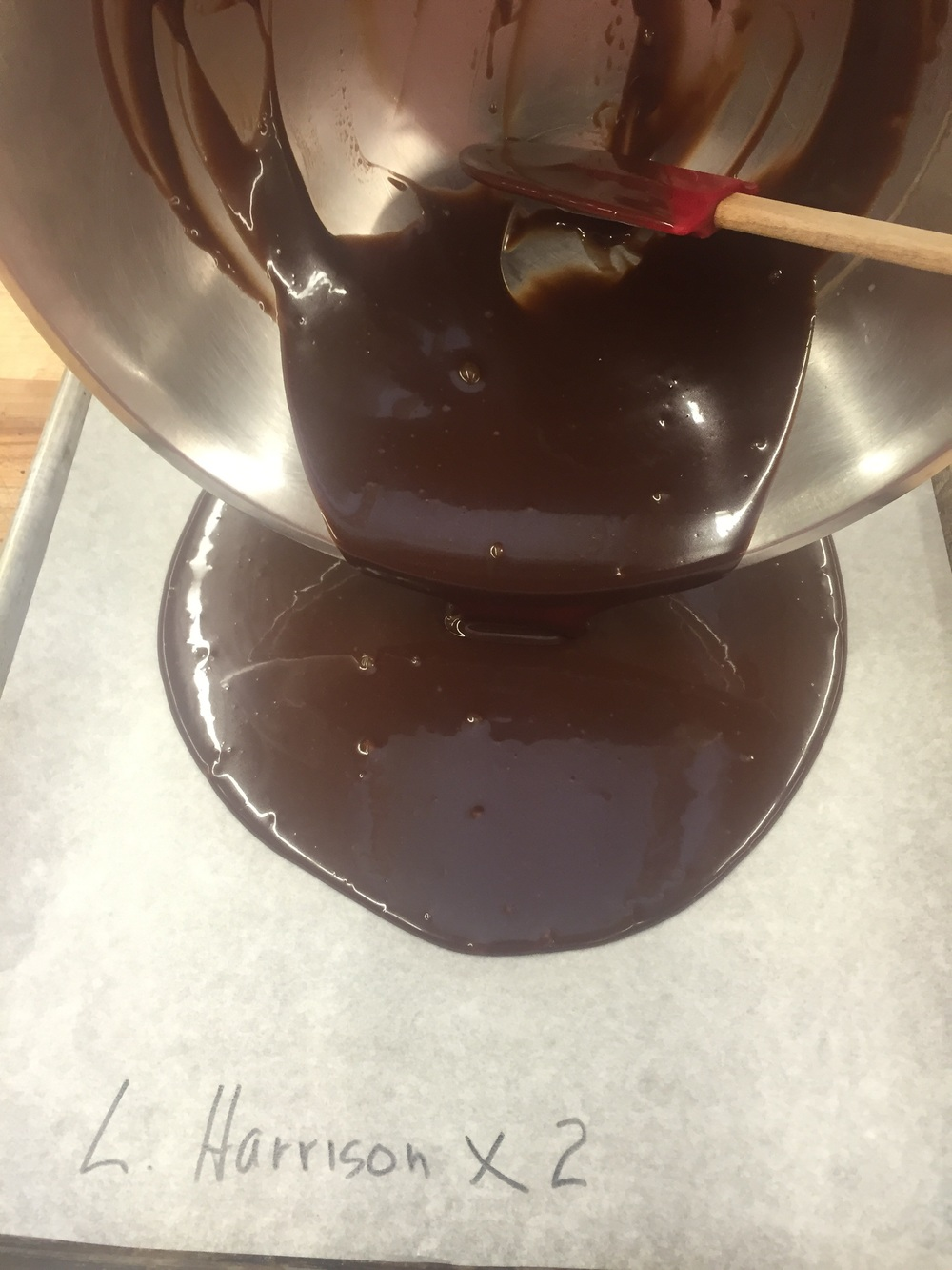 Our chocolate ganache - Mom (Linda) and I will be sharing this batch, so we labeled with our name...times two!